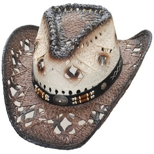 Dark Brown Brim Straw Hat
